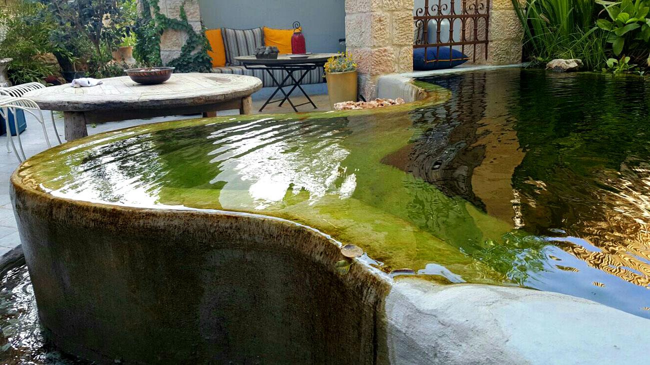 בריכת שחייה טבעית (גלישה) במגרש קטן